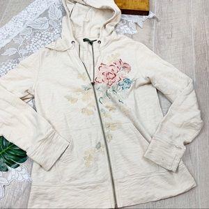 Eddie Bauer Floral Full Zip Hooded Sweatshirt 1808